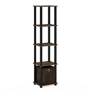 Furinno Turn-N-Tube No Tools 5-Tier Display Decorative Shelf, Walnut/Black/Dark Brown, large