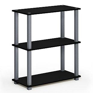 Furinno Turn-S-Tube 3-Tier Compact Multipurpose Shelf Display Rack, Black/Gray, large