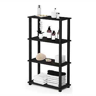 Furinno Turn-S-Tube 4-Tier Multipurpose Shelf Display Rack, Espresso/Black, rollover