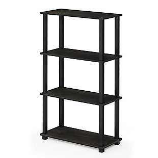 Furinno Turn-S-Tube 4-Tier Multipurpose Shelf Display Rack, Espresso/Black, large