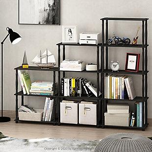 Furinno Turn-N-Tube 4-Tier Multipurpose Shelf Display Rack, Americano/Black, rollover