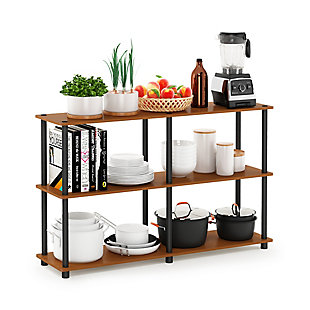 Furinno Turn-N-Tube 3-Tier Double Size Storage Display Rack, Light Cherry/Black, rollover