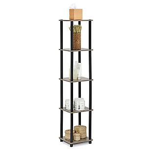 Furinno Turn-N-Tube 5-Tier Corner Square Rack Display Shelf, French Oak Gray/Black, rollover