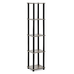 Furinno Turn-N-Tube 5-Tier Corner Square Rack Display Shelf, French Oak Gray/Black, large