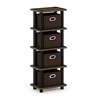 Furinno Turn-N-Tube 4-Bins System Rack, Walnut/Black/Dark Brown, rollover