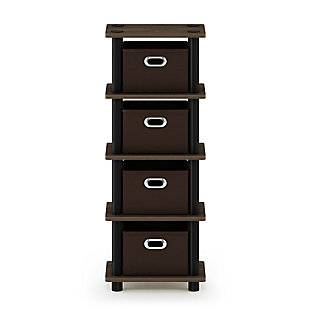 Furinno Turn-N-Tube 4-Bins System Rack, Walnut/Black/Dark Brown, large