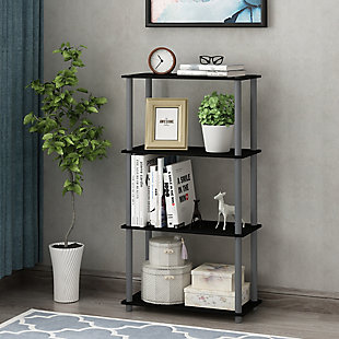 Furinno Turn-N-Tube 4-Tier Multipurpose Shelf Display Rack, Black/Gray, rollover