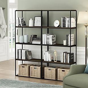 Furinno Moretti Modern Lifestyle Wide Stackable Shelf, Columbia Walnut, rollover