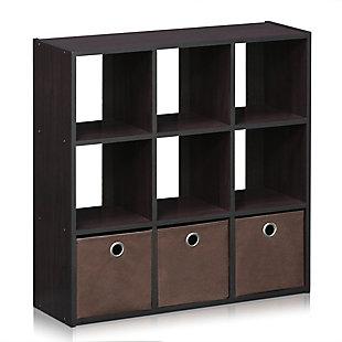 Furinno Simplistic 9-Cube Organizer, Dark Walnut, large