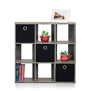 Furinno Simplistic 9-Cube Organizer, Gray/Black, large