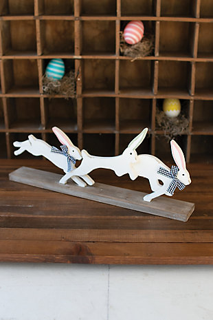 Two Running Rabbits on a Base, , large