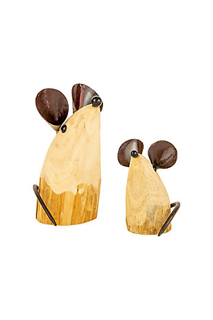 Set of Two Recycled Wood and Iron Mice, , large
