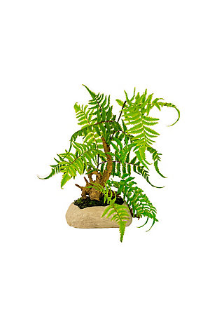 Artificial Fern in a Gray Paper Pulp Pot, , large
