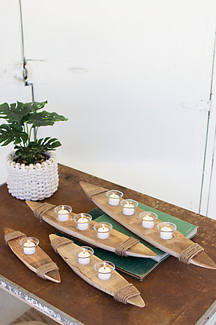 Set of Four Recycled Wood Boat Tea Light Holders, , rollover