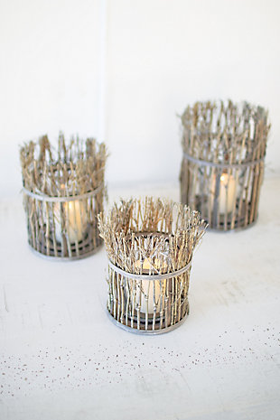 Set of Three Twig Lanterns with Glass Insert, , rollover
