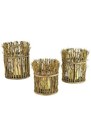 Set of Three Twig Lanterns with Glass Insert, , large