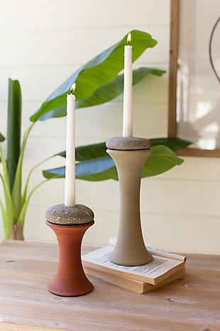 Set of two clay candlestick holders