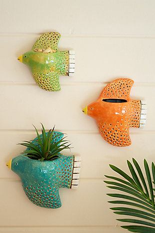 Set of Three Colorful Ceramic Bird Wall Planters, , large