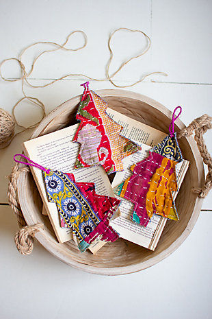 Set of 6 Kantha Christmas Trees Ornaments, , rollover