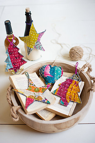 Set of 6 Kantha Hearts Christmas Ornaments, , rollover