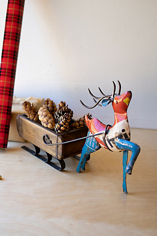 Recycled Iron Deer Pulling A Brick Mold Sleigh, , rollover