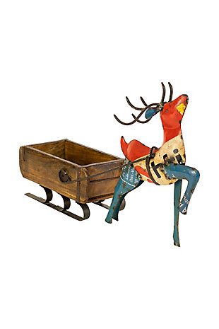 Recycled Iron Deer Pulling A Brick Mold Sleigh, , large