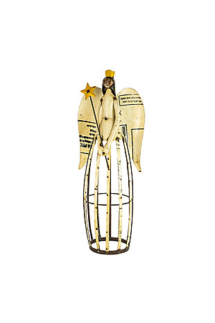 Recycled Iron Angel Holding A Star, , large