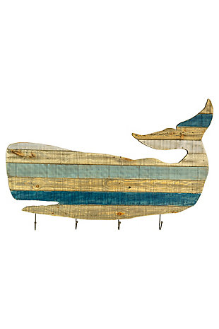 Painted Recycled Wood Whale Coat Rack, , large