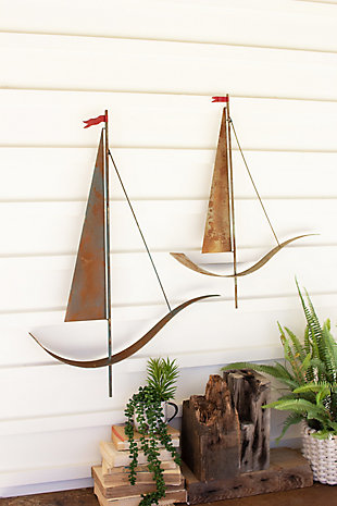 Set of Two Painted Metal Sailboat Wall Hangings, , rollover