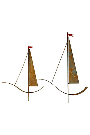Set of Two Painted Metal Sailboat Wall Hangings, , large