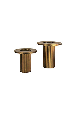 Set of Two Metal Vases - Antique Brass Finish, , large