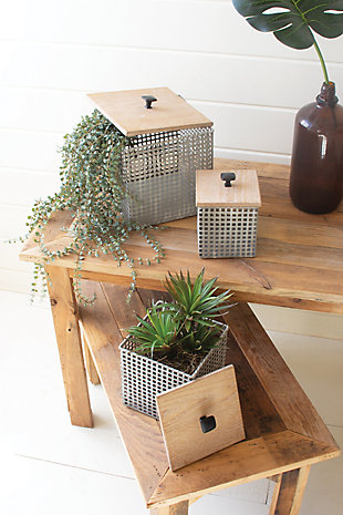 Set of Three Perforated Metal Canisters with Wooden Lids, , rollover