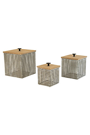 Set of Three Perforated Metal Canisters with Wooden Lids, , large