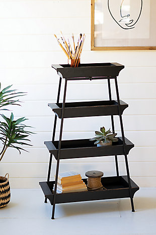 Four Tiered Wood and Iron Display Tower, , rollover