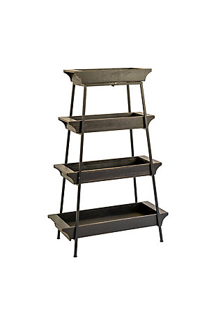 Four Tiered Wood and Iron Display Tower, , large