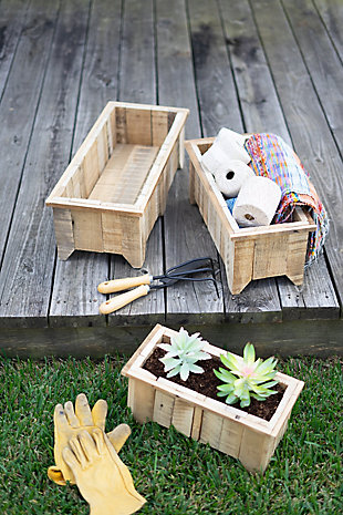 Set of Three Rectangle Recycled Wood Planters, , rollover