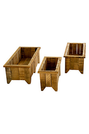 Set of Three Rectangle Recycled Wood Planters, , large