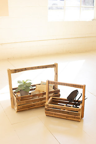 Set of Two Recycled Wood Slatted Baskets with Tall Handles, , large