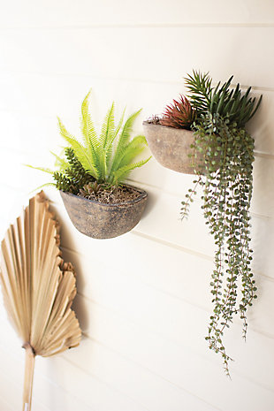 Set of Two Half Moon Wall Planters, , rollover