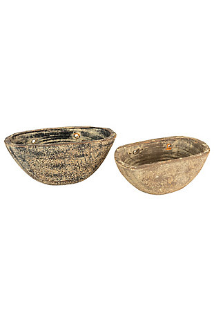 Set of Two Half Moon Wall Planters, , large