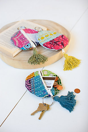 Set of 3 Kantha Key-Ring Pouches, , large