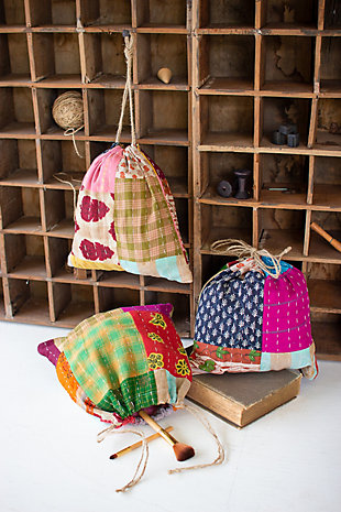 Set of 3 Kantha Ditty Bags, , large