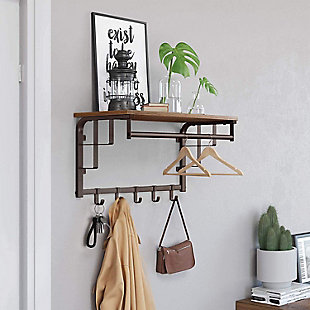 VASAGLE Wall-Mounted Coat Rack, , rollover