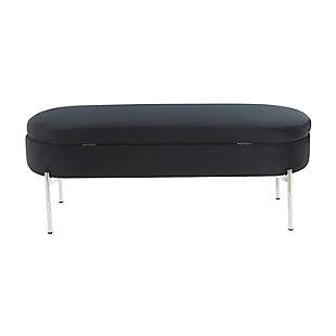 Chloe Contemporary/Glam Storage Bench in Chrome Metal and Black Velvet, Chrome/Black, large