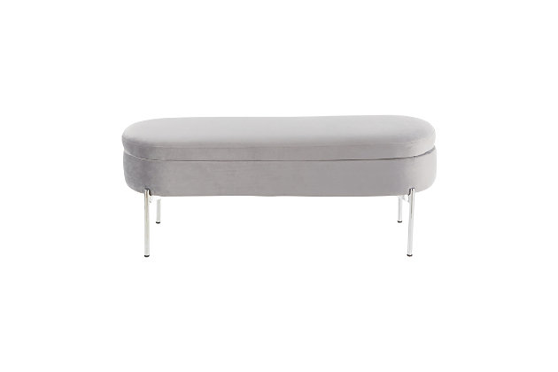 Chloe Contemporary/Glam Storage Bench in Chrome Metal and Gray Velvet, Chrome/Gray, large