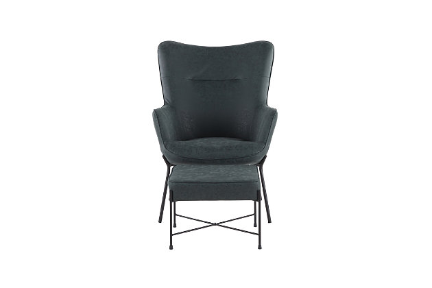 Izzy Industrial Lounge Chair and Ottoman Set in Black Metal and Green Faux Leather, , large