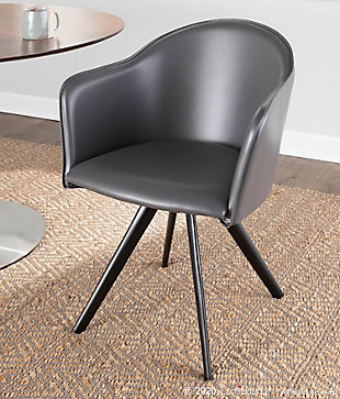Dani Contemporary Chair in Gray Faux Leather and Black Metal, , rollover
