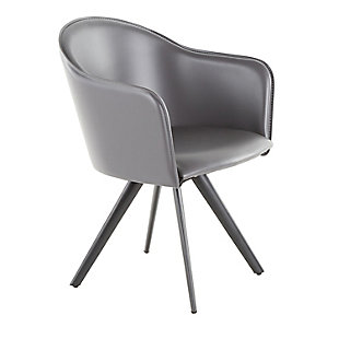 Dani Contemporary Chair in Gray Faux Leather and Black Metal, , large