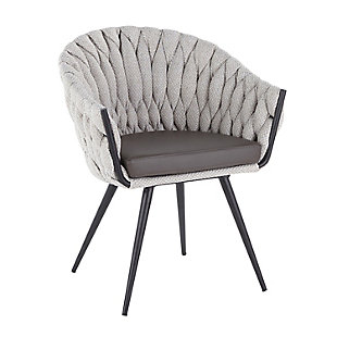 Braided Matisse Contemporary Chair in Black Metal with Gray Faux Leather and Cream Fabric, , large