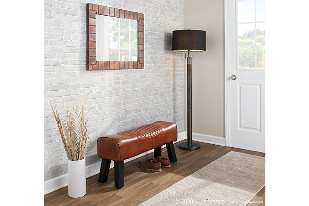 Ali Industrial Bench in Black Wood and Brown Leather, , large